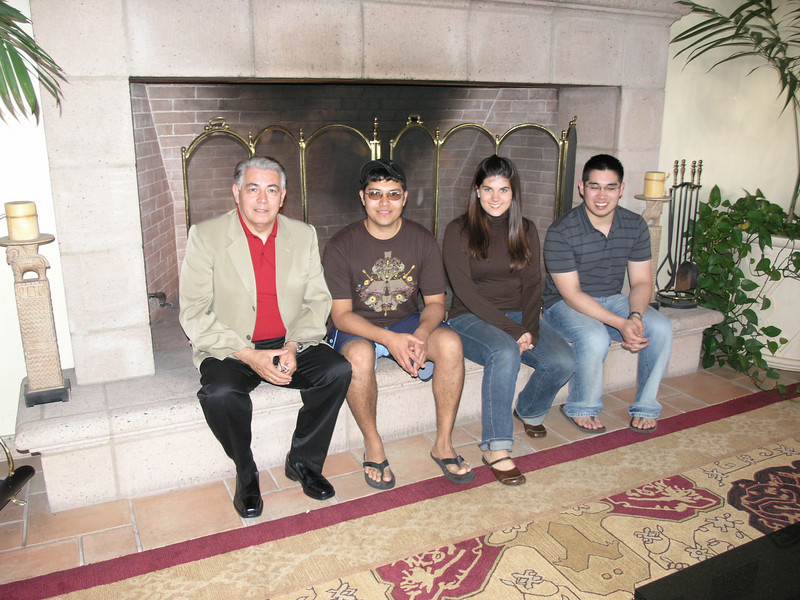 Prof. Ray Rodriguez, Eddy Sanchez, Briana Juhlin and Jussle Del Rosario in the hotel lobby waiting to go to dinner.