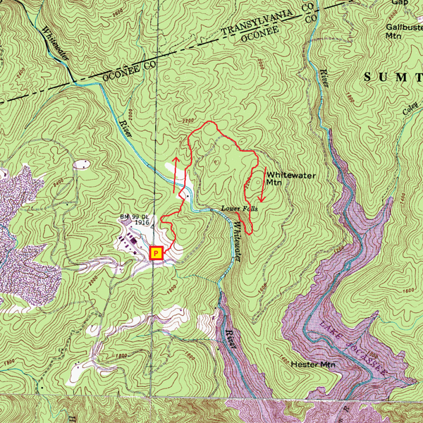 Lower Whitewater Falls Hike Route Map