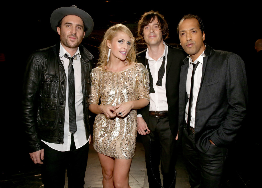 ". LOS ANGELES, CA - DECEMBER 16: (L-R) Musicians James Shaw, Emily Haines, Joules Scott-Key and Joshua Winstead of Metric attend ""VH1 Divas\"" 2012 at The Shrine Auditorium on December 16, 2012 in Los Angeles, California.  (Photo by Christopher Polk/Getty Images)"