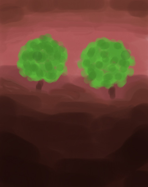 Twin Trees (Painted on iPhone 4)