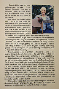 Here is the back of Claudia Little's latest book, Mudpies.  It offers a bit of background about her early years and how she came to authoring books for children.  Click on the image and you'll be able to read the text.