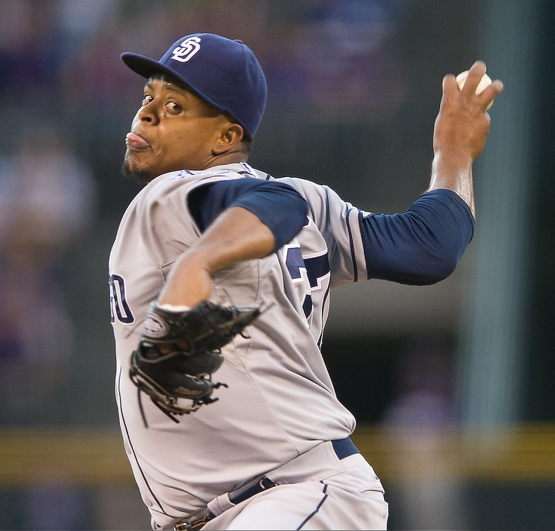 . Edinson Volquez #37 of the San Diego Padres delivers a pitch against the Colorado Rockies in the first inning of a game at Coors Field on August 12, 2013 in Denver, Colorado. The Rockies led the Padres 2-0 after one inning.  (Photo by Dustin Bradford/Getty Images)