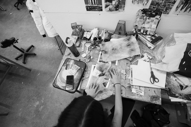 Aanya shares a studio with 6 other students and each have their own desk.