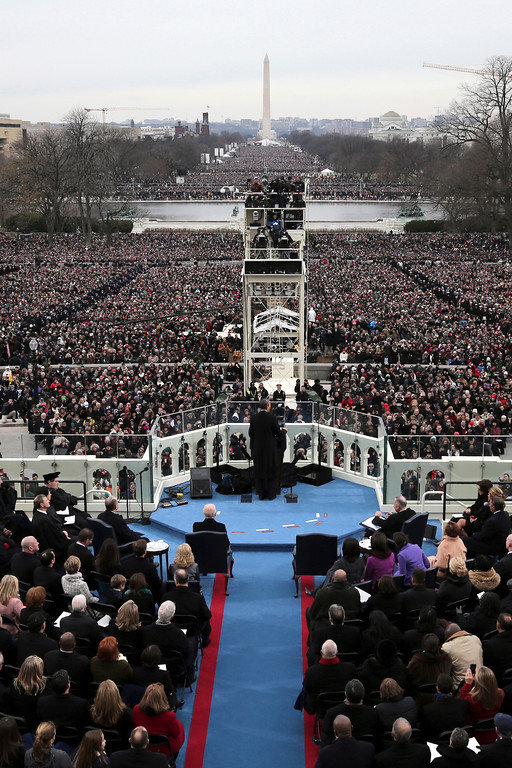 . President Barack Obama gives his inauguration address at his ceremonial swearing-in ceremony during the 57th Presidential Inauguration, Monday, Jan. 21, 2013, on the West Front of the  Capitol in Washington.  (AP Photo/Rob Carr, Pool)