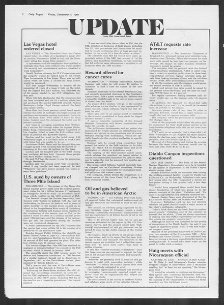 Daily Trojan, Vol. 91, No. 63, December 04, 1981
