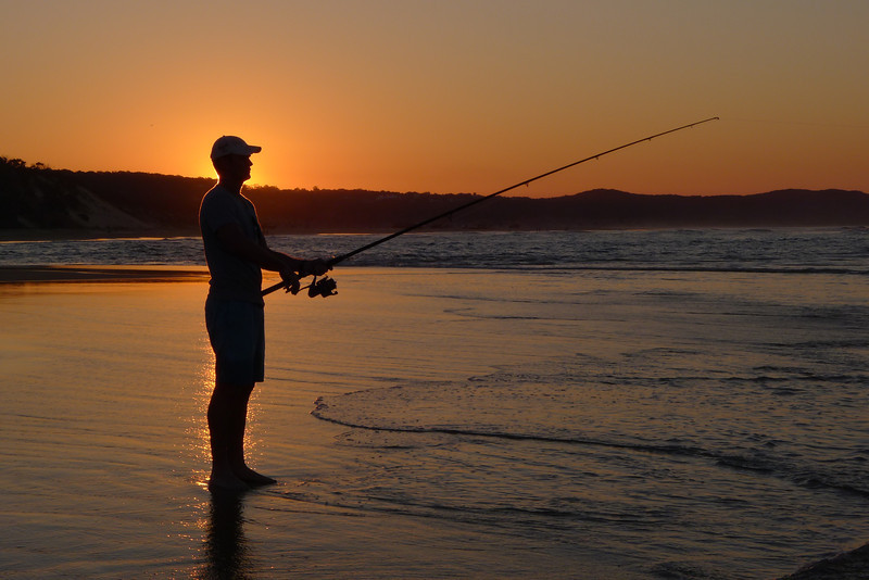 Fishing at sunset, on Waddy Lagoon.