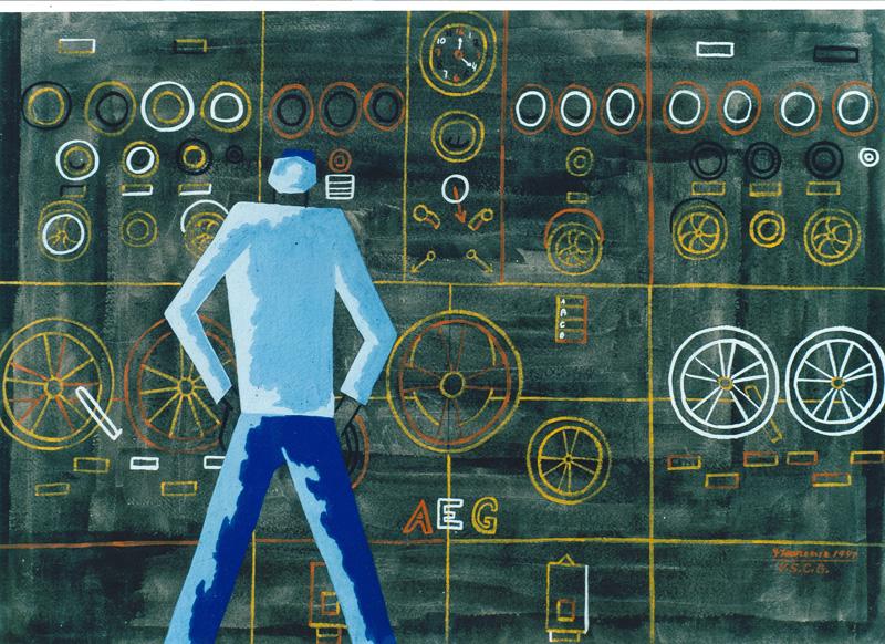 """Jacob Lawrence, """"Main Control Panel"""" (1944)"""
