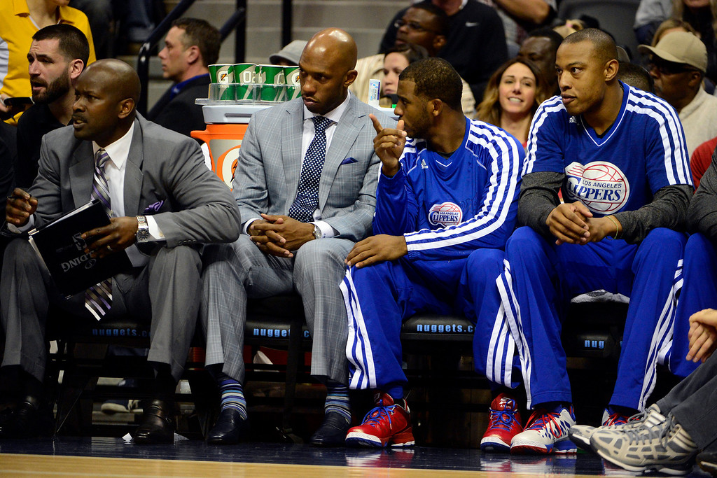. Los Angeles Clippers point guard Chauncey Billups gives advice to fellow point guard Chris Paul (3) during the first half at the Pepsi Center on Tuesday, January 1, 2013. AAron Ontiveroz, The Denver Post