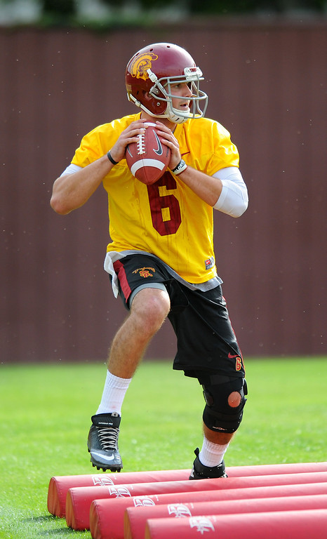 . USC\'s QB Cody Kessler goes through a footwork drill at spring practice, Tuesday, March 11, 2014, at USC. (Photo by Michael Owen Baker/L.A. Daily News)