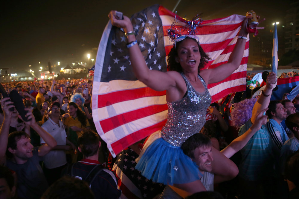 . American soccer fans wait for their team to play against Ghana at the FIFA World Cup Fan Fest on Copacabana beach on June 16, 2014 in Rio de Janeiro, Brazil. The teams are playing on the fifth day of the World Cup tournament.  (Photo by Joe Raedle/Getty Images)