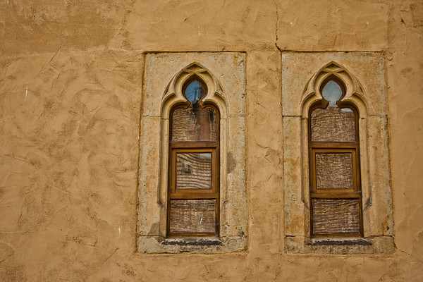 Windows in the shape of keyholes....