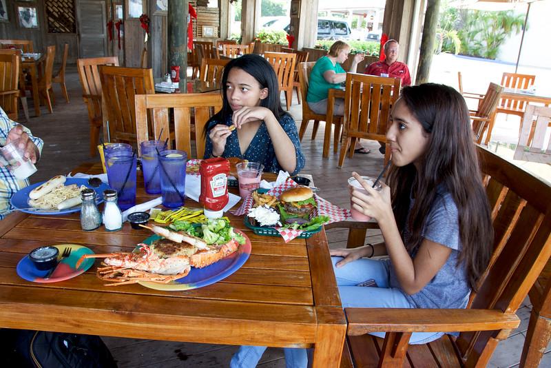 Table full of food at Islamorada Fish Company