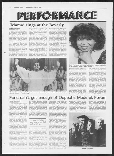 Summer Trojan, Vol. 101, No. 9, July 16, 1986