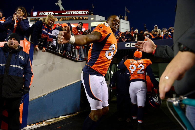 . Denver Broncos wide receiver Demaryius Thomas (88) stops to high five as he runs into the tunnel at the end of the game as the Denver Broncos took on the Kansas City Chiefs at Sports Authority Field at Mile High in Denver, Colorado on December 30, 2012. AAron Ontiveroz, The Denver Post