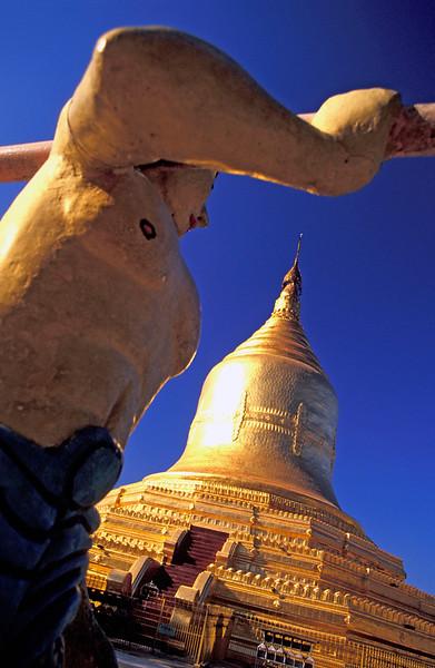 Statue outside Lawkananda Pagoda in Bagan, Burma