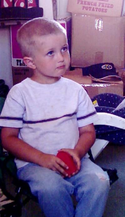 """Justin, """"See, I got a haircut, too!"""", July, 2004"""