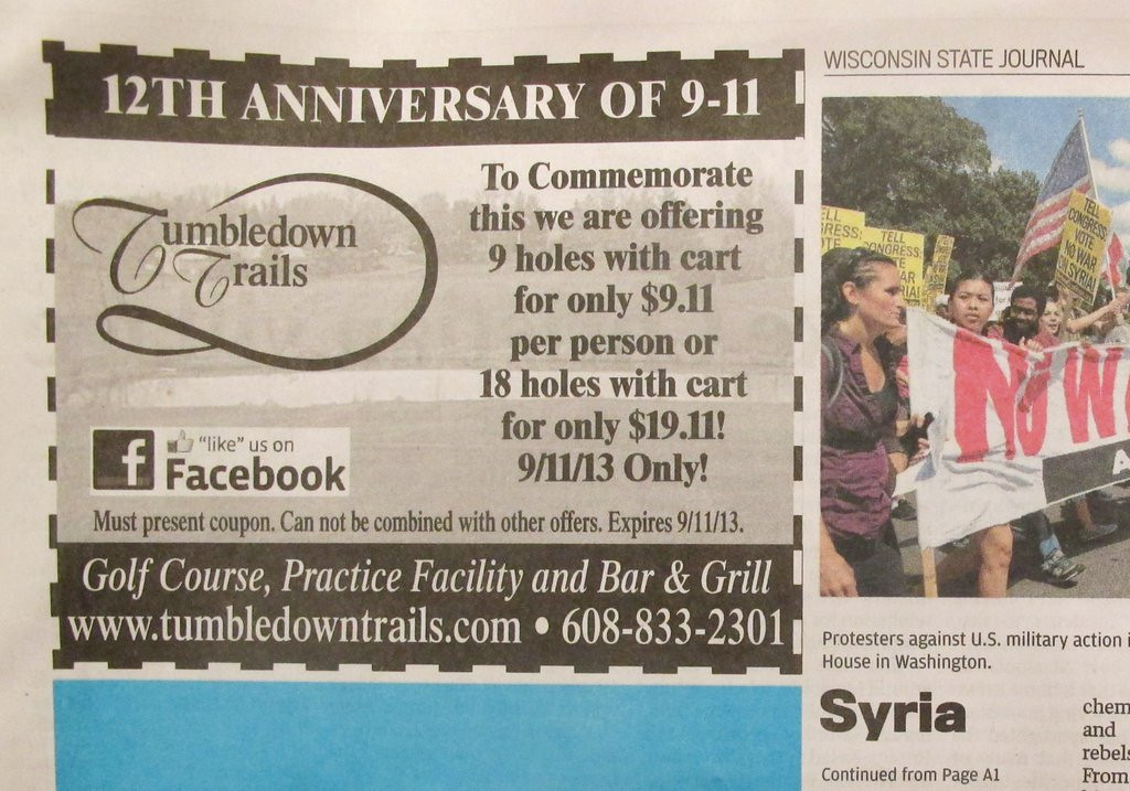 ". <p>3. (tie) TUMBLEDOWN TRAILS <p>Wisconsin golf course�s 9-11 promotion proves once and for all that the terrorists have won. (unranked) <p><b><a href=\'http://deadspin.com/golf-courses-9-11-discount-promotion-goes-real-bad-re-1281574636\' target=""_blank\""> HUH?</a></b> <p>    (AP Photo/Tumbledown Trails via Wisconsin State Journal)"