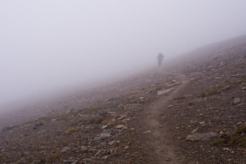 Hiker in Clouds on Skyline Trail - Jasper National Park