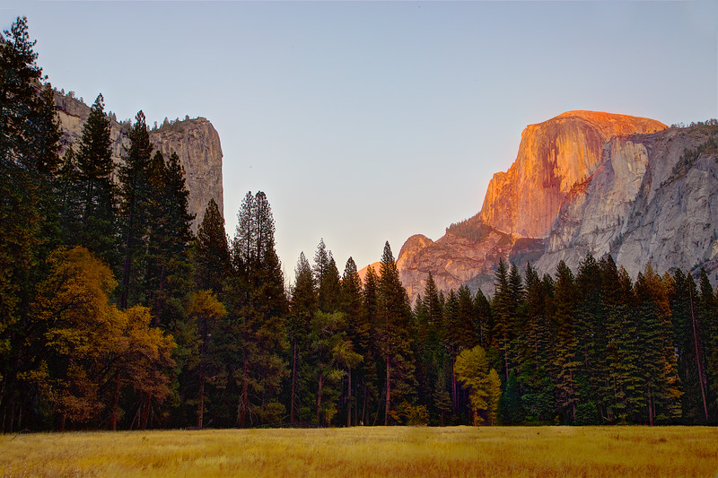 YOS-191029-0016 Fall colors across the meadow and sunset light on Half Dome