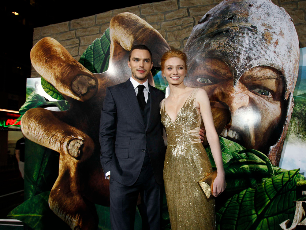 """Description of . Cast members Nicholas Hoult and Eleanor Tomlinson pose at the premiere of \""""Jack the Giant Slayer\"""" in Hollywood, California February 26, 2013. The movie opens in the U.S. on March 1.  REUTERS/Mario Anzuoni"""