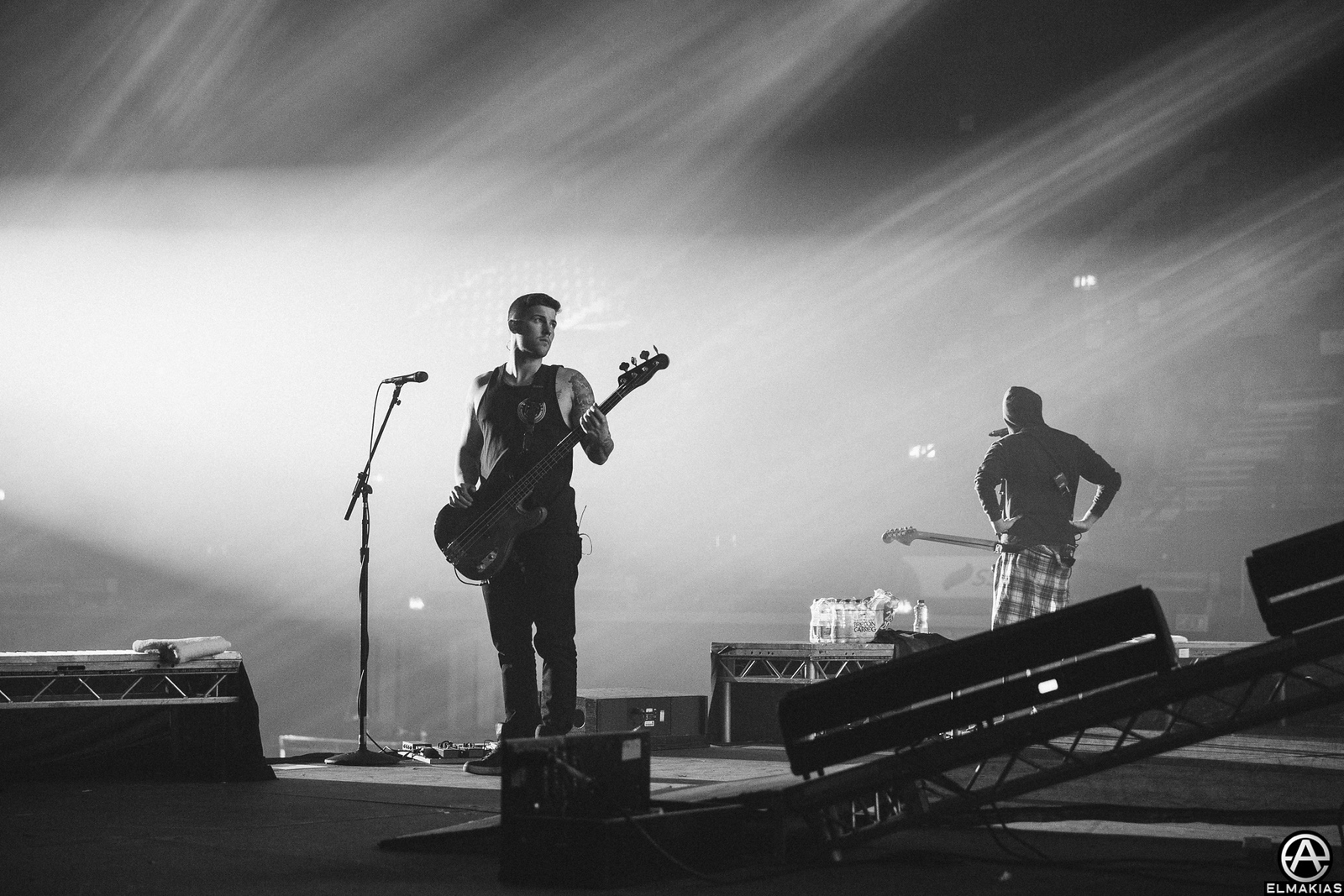 Zack Merrick of All Time Low sound checking at Wembley Arena