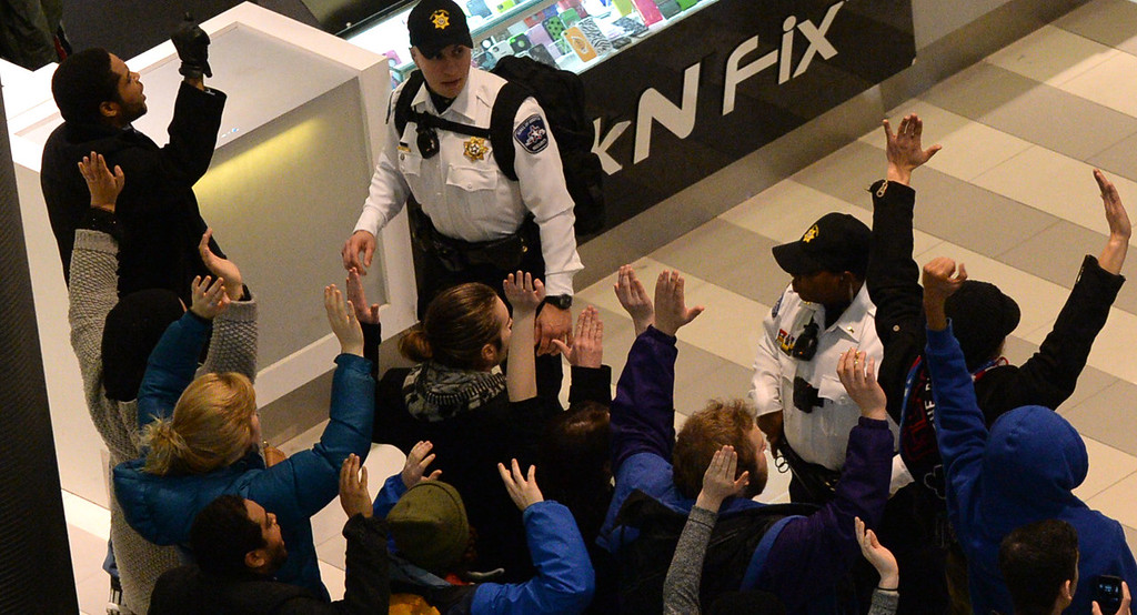 . Protesters are stopped by security officers. (Pioneer Press: John Autey)