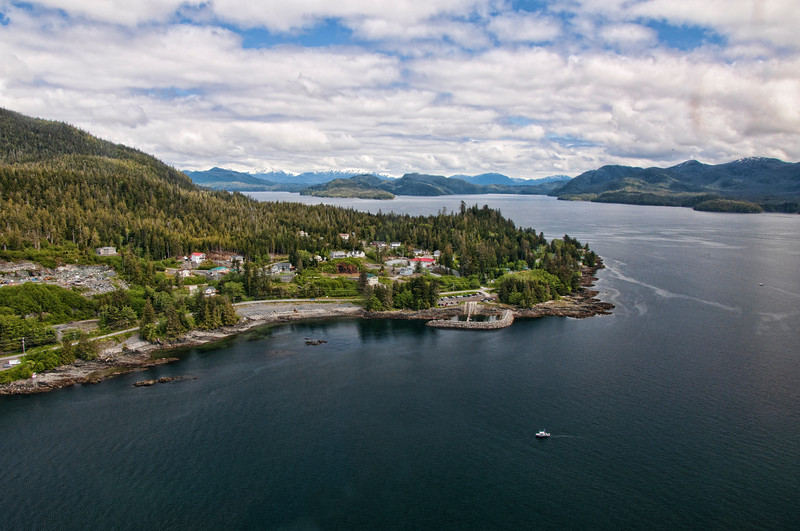 The town of Ketchikan with Misty Fjords in the background.