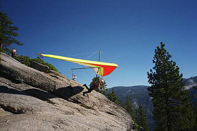 A bunch of very brave hang-gliders launched from Glacier Point, soaring out over Yosemite Valley before eventually touching down far away.