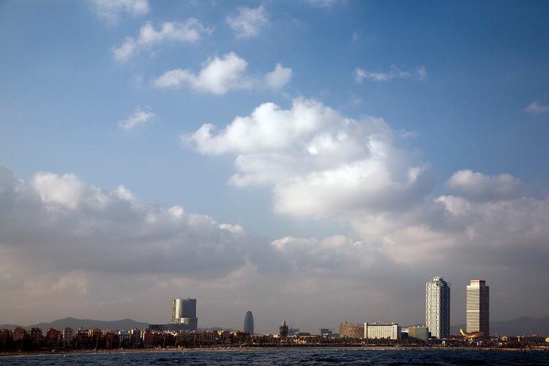 Barcelona skyline from the Mediterranean sea, Spain