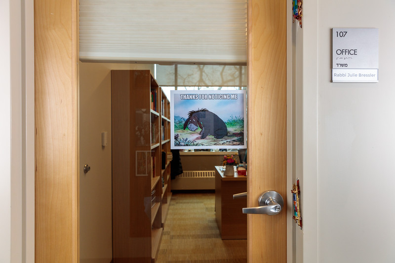 Eeyore. Rabbi Bressler's study door.