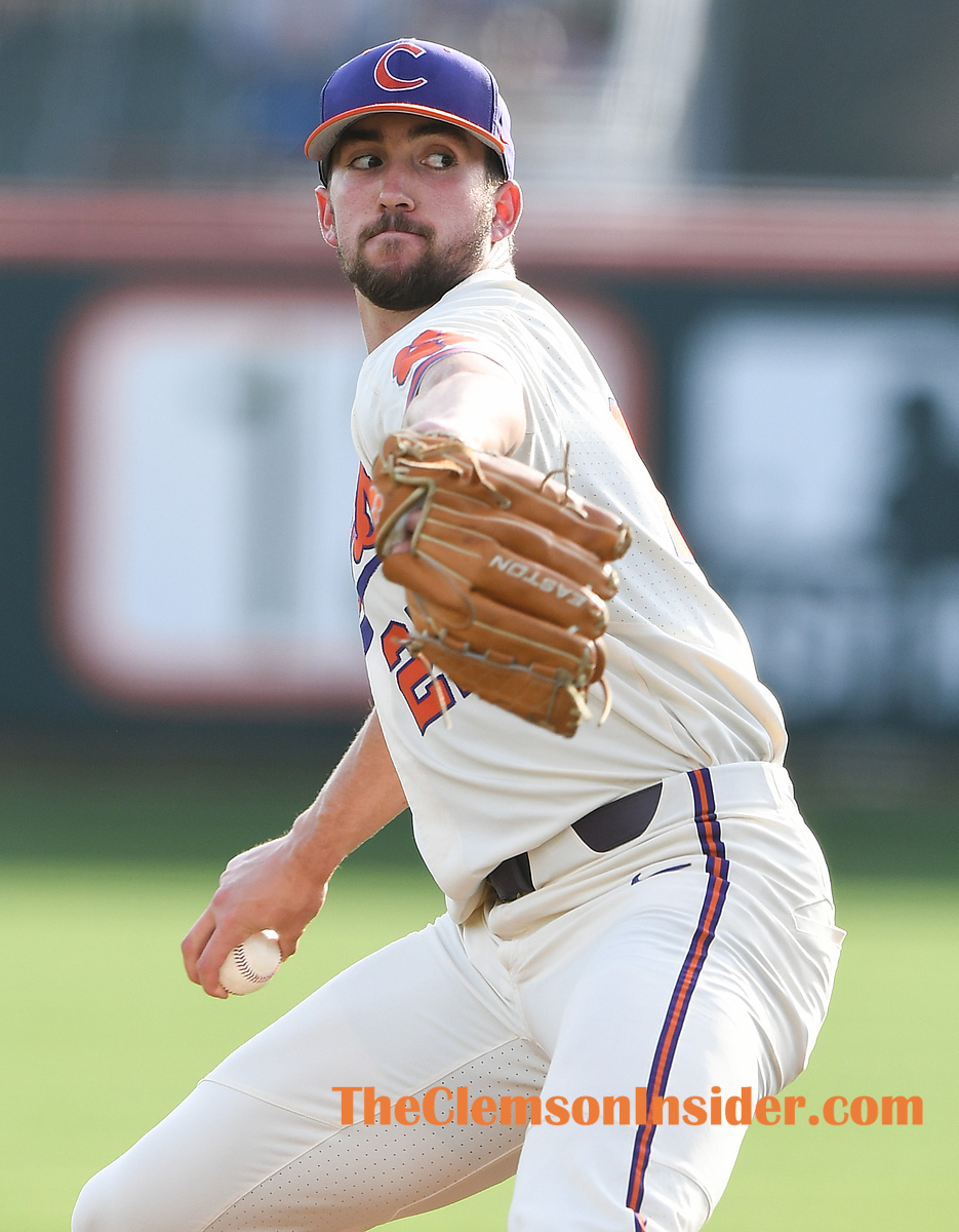 Clemson pitcher Carter Raffield (27) pitches against Georgia Tuesday, March 30, 2021 at Clemson's Doug Kingsmore Stadium. Bart Boatwright/The Clemson Insider