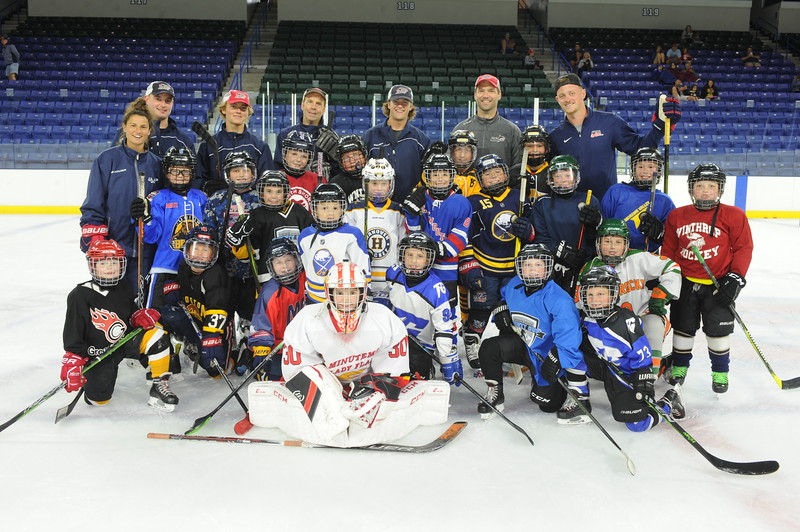 Buffalo Sabres star Jack Eichel, top right, of Chelmsford, and U.S. Olympian Amanda Pelkey, middle row, far left, were at the Tsongas Center at UMass Lowell on Saturday, Aug. 17, 2019, to take part in the Jack Eichel Hockey Clinic. (Lowell Sun photos by John Corneau)