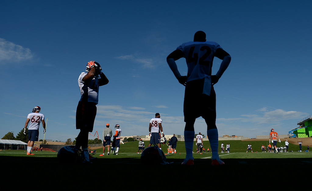 . The Denver Broncos take to the field for the start of the 2014 training camp July 24, 2014 at Dove Valley. (Photo by John Leyba/The Denver Post)