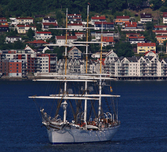The square rigged Statsraad LehmKuhl has taken to the water as we are leaving Bergen, Norway.