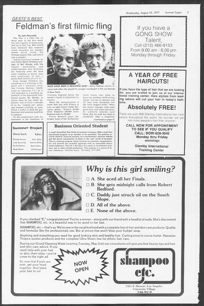Summer Trojan, Vol. 72, No. 12, August 10, 1977