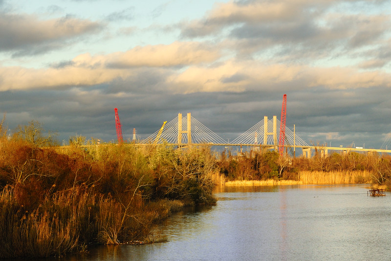 It rained all day yesterday and then it was very heavily overcast today.  Just as I headed home, the clouds pushed away and let the sun in (making their way north to transform themselves into a record breaking snow storm).  I was able to grab this shot of the Cochran-AfricaTown Bridge.  AfricaTown was formed by West Africans who were among the last known illegal shipment of slaves to come to the United States in 1860. Their landing marked the last recorded attempt to import Africans to the United States for the purpose of slavery.<br /> <br /> Prichard, Alabama
