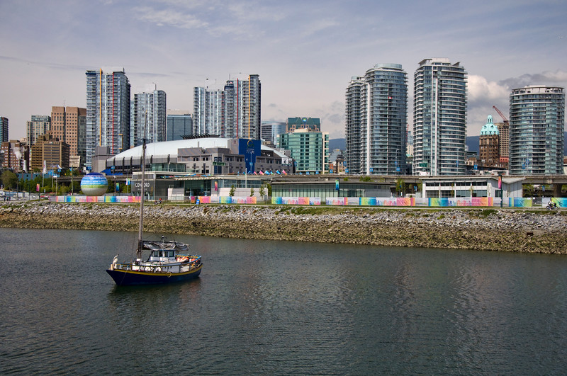 Continuing on our bike route, this is the city from False Creek bay, showing the arena where the hockey club plays.