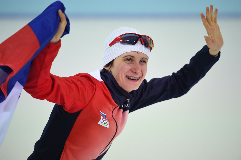. Czech Republic\'s Martina Sablikova celebrates after winning the Women\'s Speed Skating 5000 m at the Adler Arena during the Sochi Winter Olympics on February 19, 2014.  (DAMIEN MEYER/AFP/Getty Images)