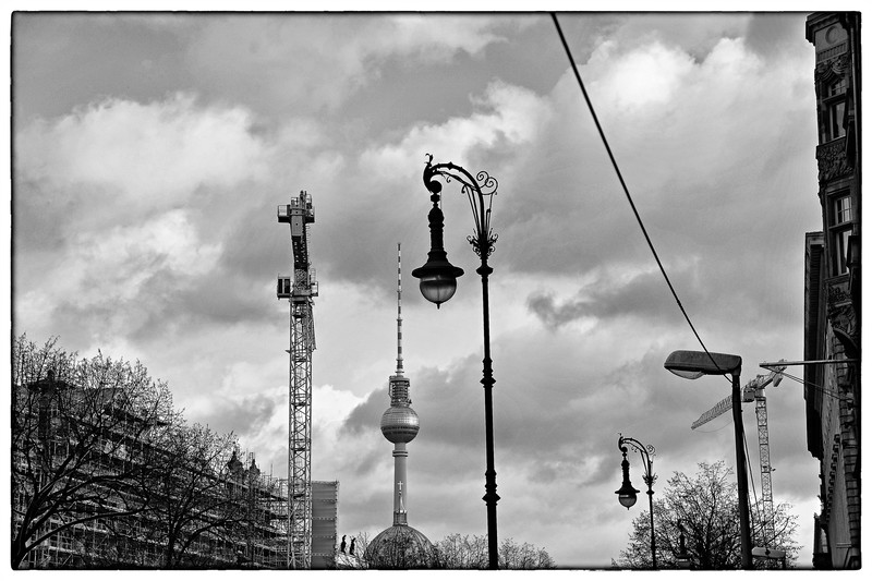 Looking towards the Television Tower from Unter Den Linden, Berlin.