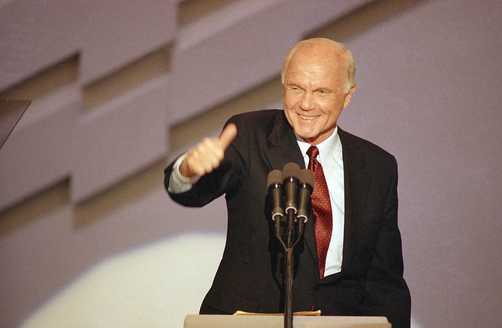 . Ohio Sen. John Glenn gives a thumbs-up after introducing vice-presidential candidate Sen. Lloyd Bentsen, D-Texas, at the Democratic National Convention, Thursday, July 22, 1988 in Atlanta. (AP Photo/Ron Edmonds)