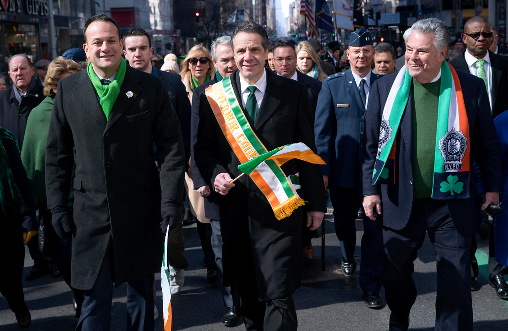 . From left, Irish Prime Minister Leo Varadkar, New York Democratic Gov. Andrew Cuomo and Rep. Peter King, R-N.Y., walk along Fifth Avenue during the St. Patrick\'s Day parade Saturday, March 17, 2018, in New York.  A big event since the mid-1800s, the parade has been a celebration of Irish culture and of Irish immigrants, who once faced nativist calls for their exclusion from the workforce,  and from the country, when they began arriving in the city in huge numbers during the Irish Famine. (AP Photo/Craig Ruttle)