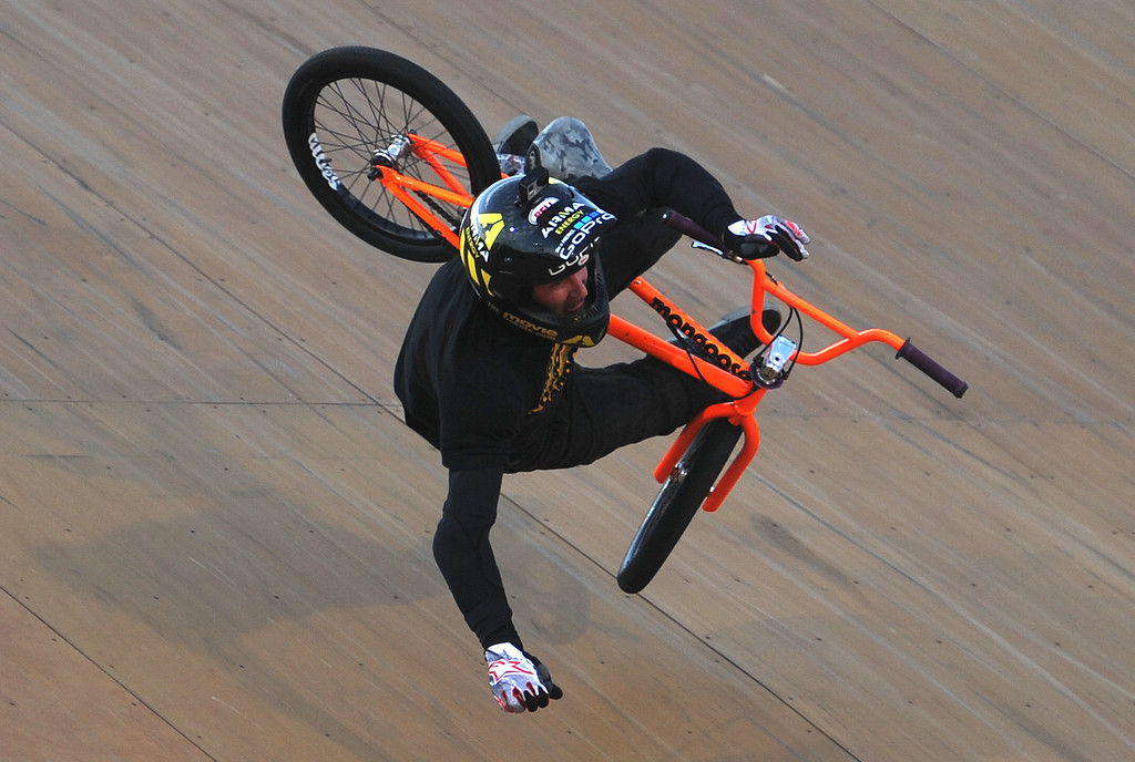 . Steve McCann crashes on his first run and would not return during the GoPro BMX Big Air Final at Irwindale Speedway on Friday, Aug. 2, 2013 in Irwindale, Calif. Morgan Wade won the gold medal.  (Keith Birmingham/Pasadena Star-News)