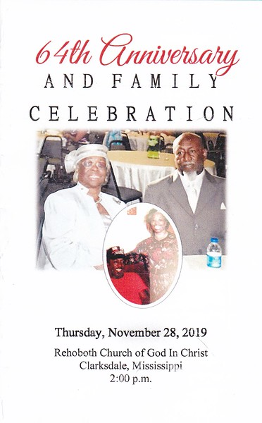 64th Anniversary & Family Celebration