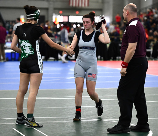2/29/2020 Mike Orazzi | StaffrGriswold's Sydney Dameron and Windham Autumn Stancel during the CIAC 2020 State Open Wrestling Tournament at the Floyd Little Athletic Center in New Haven.r