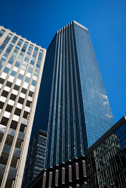 Low angle view of the IDS Center tower at Downtown Minneapolis, Hennepin County, Minnesota, USA