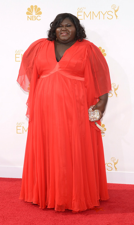 . Gabourey Sidibe on the red carpet at the 66th Primetime Emmy Awards show at the Nokia Theatre in Los Angeles, California on Monday August 25, 2014. (Photo by John McCoy / Los Angeles Daily News)