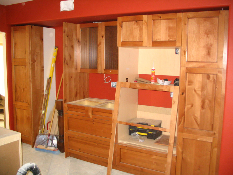 """It's actually starting to look like a kitchen. The countertops will really """"finish"""" it."""
