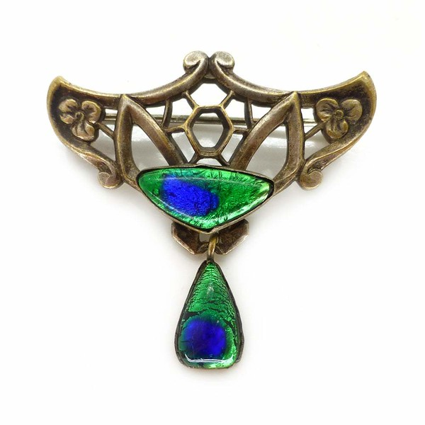 Antique German Art Nouveau Peacock Foil Glass Brooch