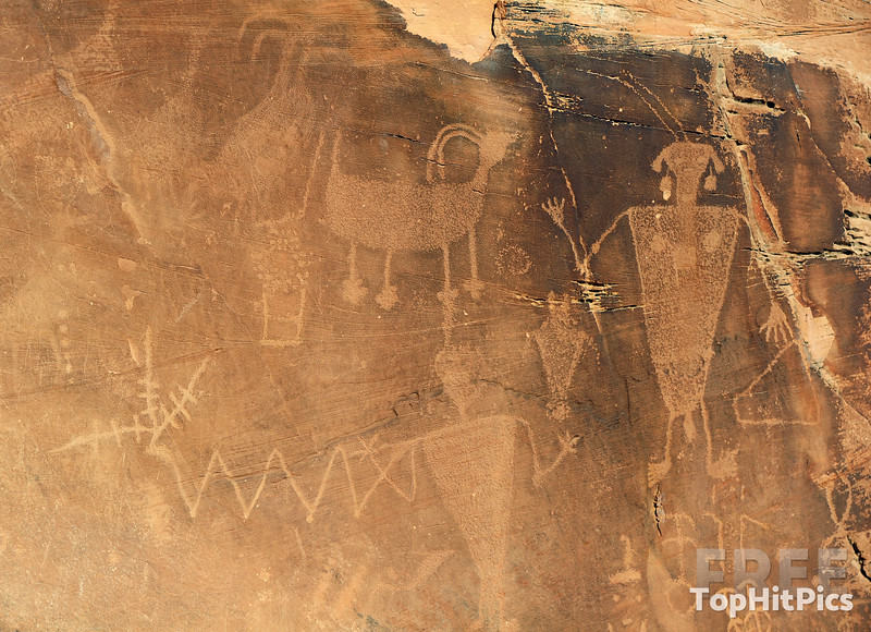 The Petroglyphs at 'Swelter Shelter' in Dinosaur National Monument Park, Jensen, Utah