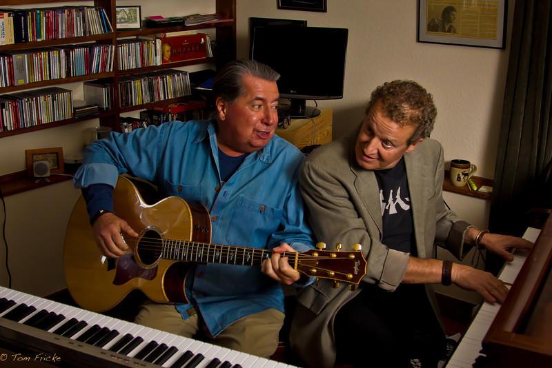 Leon Littlebird with Len Rhodes in a rehearsal jam session